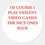 video game round stickers