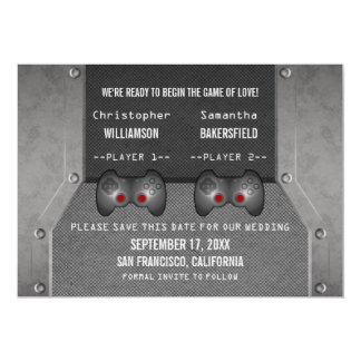 Video Game Save the Date Invite, Gray 13 Cm X 18 Cm Invitation Card