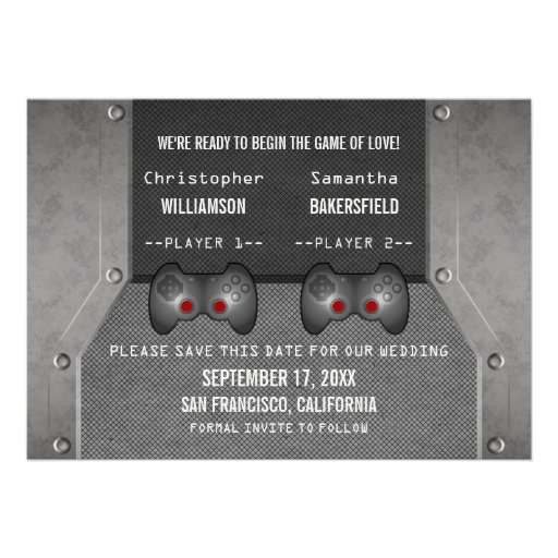 Video Game Save the Date Invite, Gray