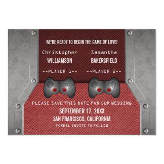 Video Game Save the Date Invite, Maroon 13 Cm X 18 Cm Invitation Card
