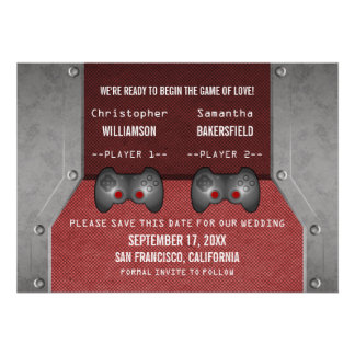 Video Game Save the Date Invite, Maroon