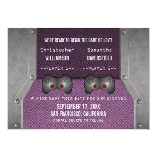 Video Game Save the Date Invite, Purple 13 Cm X 18 Cm Invitation Card