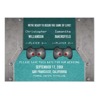 Video Game Save the Date Invite, Teal 13 Cm X 18 Cm Invitation Card