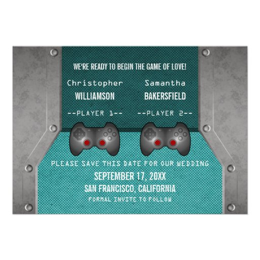 Video Game Save the Date Invite, Teal