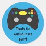 Video Game Truck Birthday Party Favour Round Sticker