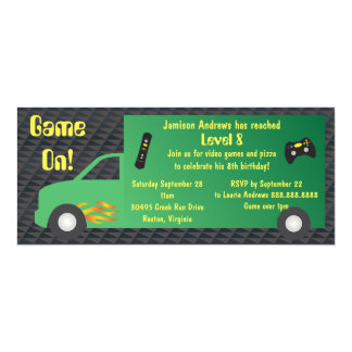 Video Game Truck Birthday Party 10 Cm X 24 Cm Invitation Card