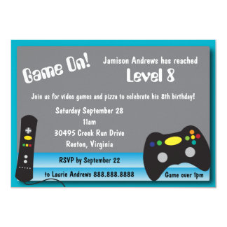 Video Game Truck Birthday Party 11 Cm X 16 Cm Invitation Card