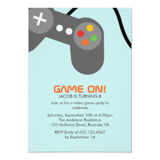 Video Games Birthday Party 13 Cm X 18 Cm Invitation Card