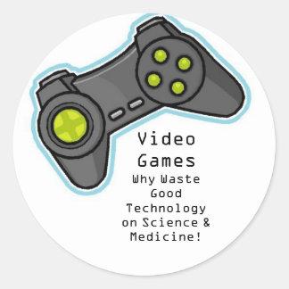 video games classic round sticker