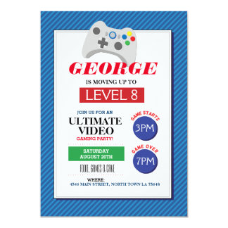 Video Gaming Party Game Blue Red Trucks Invite