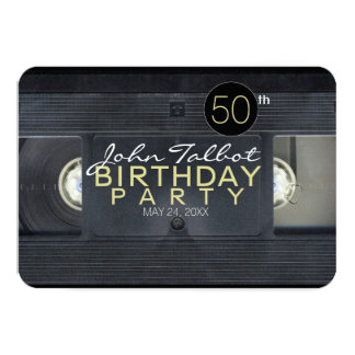 Video Tape 2 VHS 50th Birthday Party Invitation
