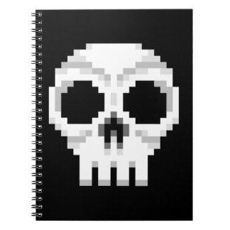 Videogame Death Skull - Pixel Art Spiral Notebook
