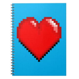 Videogame Life Heart - Pixel Heart Notebooks