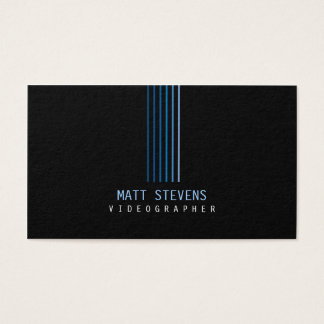 Videographer Business Card Blue Beams