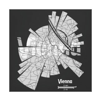 Vienna Map Wrapped Canvas Stretched Canvas Prints