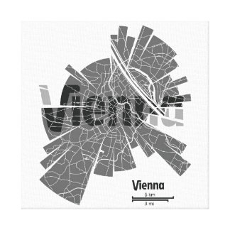 Vienna Map Wrapped Canvas Gallery Wrap Canvas