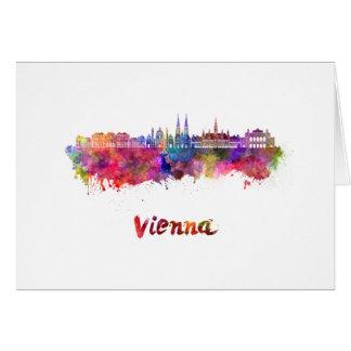 Vienna skyline in watercolor card