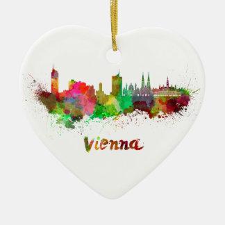 Vienna skyline in watercolor ceramic ornament