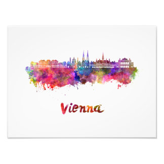 Vienna skyline in watercolor photo print