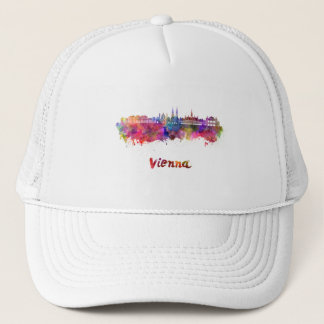 Vienna skyline in watercolor trucker hat