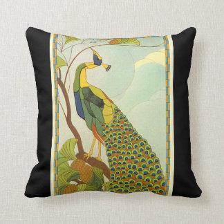 Viennese Art Nouveau Peacock Throw Cushion