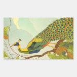 Viennese Art Nouveau Peacock Rectangular Sticker