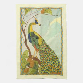 Viennese Art Nouveau Peacock Tea Towel