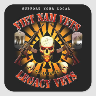 Viet Nam/Legacy Vets MC Support Sticker with Skull