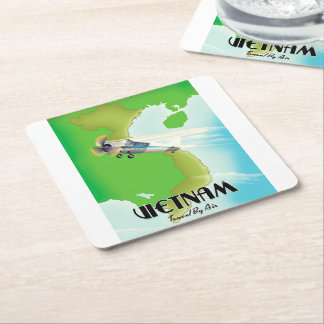 Vietnam by Air vacation print. Square Paper Coaster