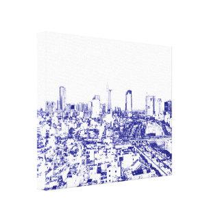 Vietnam Cityscape - Blue Sketch Style Canvas Print