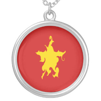 Vietnam Gnarly Flag Round Pendant Necklace