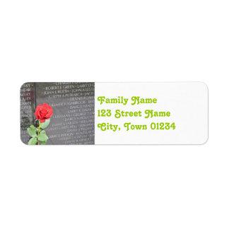 Vietnam Wall Memorial Return Address Label