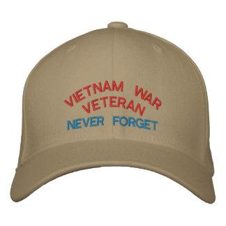 VIETNAM WAR VETERAN, NEVER FORGET EMBROIDERED BASEBALL CAP