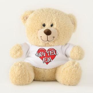 Vietnamese Anh Yeu Em I Love You Red Heart Teddy Bear