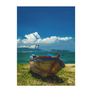 Vietnamese Fishing Boat Blue Sky Canvas Print