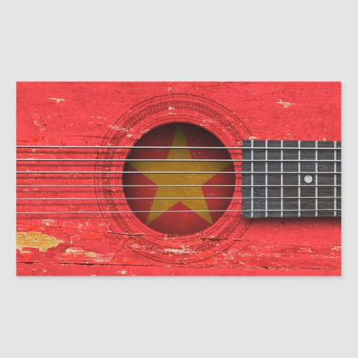 Vietnamese Flag on Old Acoustic Guitar Sticker