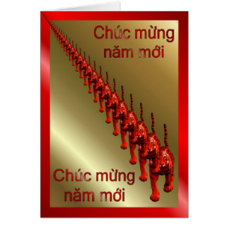VIETNAMESE HAPPY NEW YEAR - VERY RED GREETING CARD
