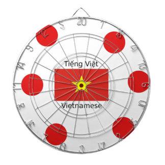 Vietnamese Language and Vietnam Flag Design Dartboard