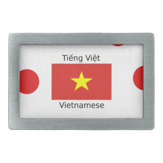 Vietnamese Language and Vietnam Flag Design Rectangular Belt Buckle