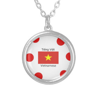 Vietnamese Language and Vietnam Flag Design Silver Plated Necklace