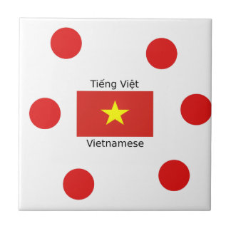 Vietnamese Language and Vietnam Flag Design Tile