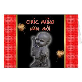 Vietnamese New Year of the  Happy New Year Buddha Greeting Card