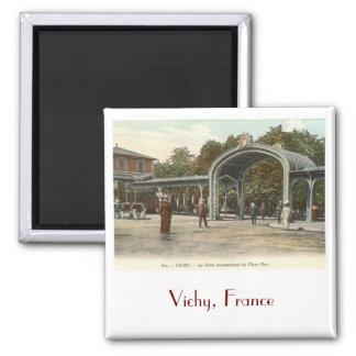 Vieux Parc, Vichy, France Vintage Square Magnet