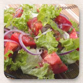 View angle on a fragment of vegetarian salad coaster
