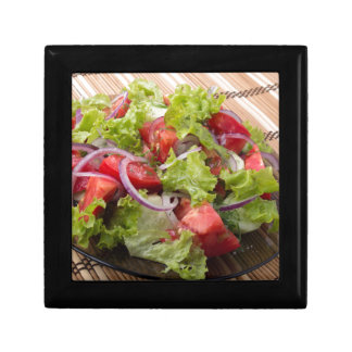 View angle on a fragment of vegetarian salad gift box