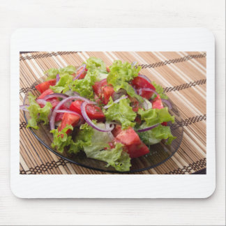 View angle on a fragment of vegetarian salad mouse pad