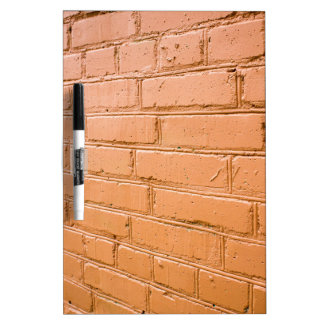 View angle on the red brick wall dry erase board