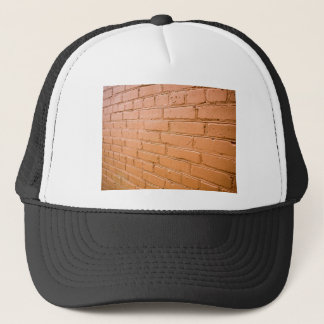View angle on the red brick wall trucker hat