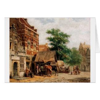 View at Culemborg by Cornelis Springer Greeting Card