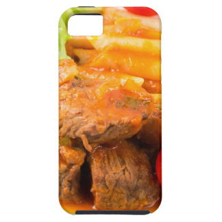 View close-up on a meal of beef stew with pasta case for the iPhone 5